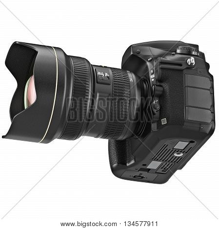 DSLR photo camera device professional with zoom lens. 3D graphic