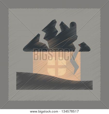flat shading style icon nature house crash