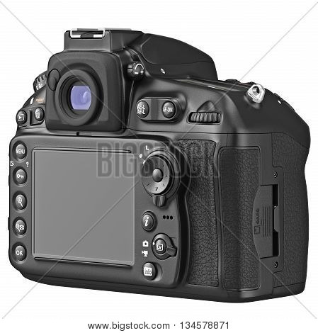 DSLR photo camera with large LCD display, back view. 3D graphic