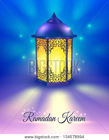 Ramadan colored poster with title Ramadan kareen included lamp in foreground and abstract background vector illustration