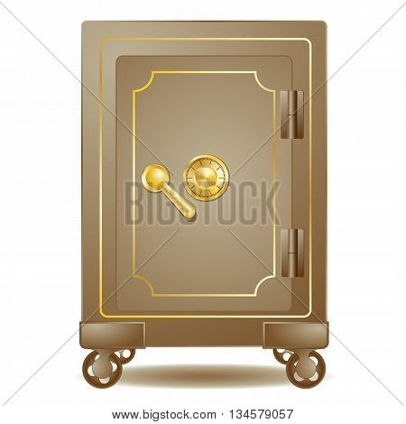 old safe with a combination lock on white background