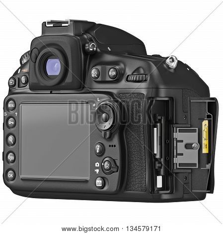 Camera device with large LCD display, cap open. 3D graphic