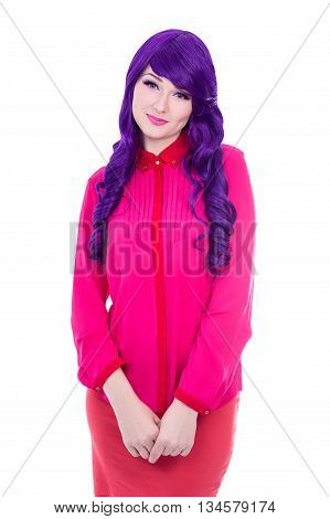 Woman In Pink With Purple Hair Isolated On White