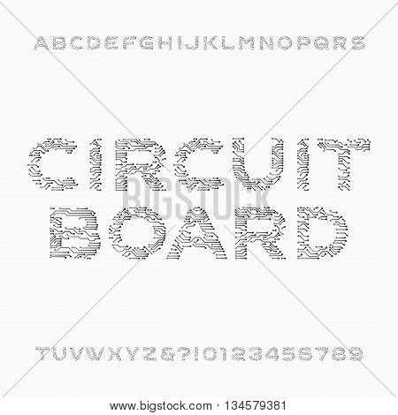 Circuit board font. Vector Alphabet. Digital hi-tech style letters and numbers. Stock vector font for your design.