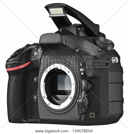 DSLR camera professional, open flash without lens. 3D graphic