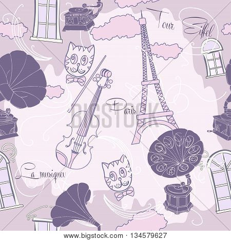 Seamless pattern with  Paris and gramophones. Hand drawn sketches old record players. Vector music illustration