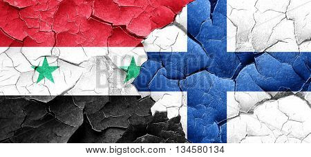 Syria flag with Finland flag on a grunge cracked wall