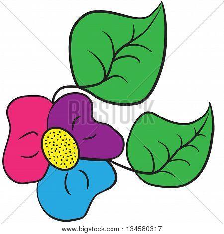 Illustration of three-colored shamrock flower on a white background