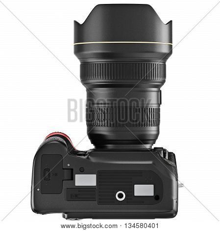 DSLR photo camera, lens optics zoom, bottom view. 3D graphic