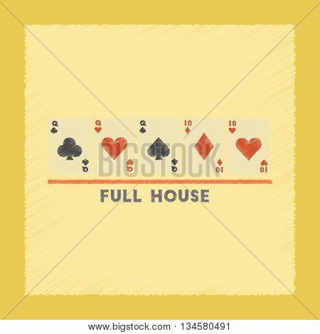 flat shading style icon poker full house