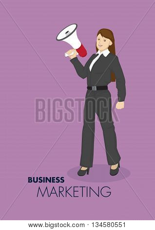 Vector illustration of smart young cartoon businesswoman holding hand-held megaphone for business marketing and promotion concept isolated on plain purple background.
