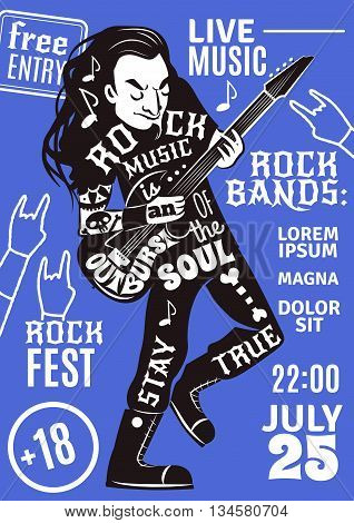 Rock band music night concert advertisement poster with date time and black performer figure abstract vector illustration