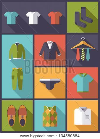 Vertical flat design long shadow illustration with mens wear and fashion symbols