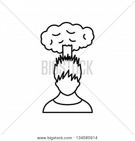Man with cloud over head icon in simple style isolated on white background