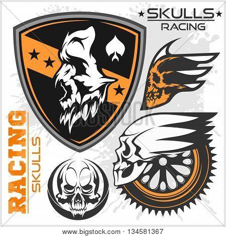 Skulls and car racing symbols on white background