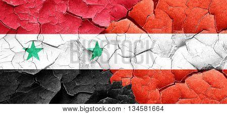 Syria flag with Austria flag on a grunge cracked wall