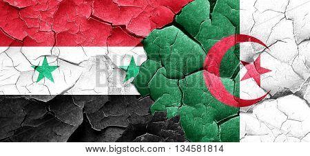 Syria flag with Algeria flag on a grunge cracked wall
