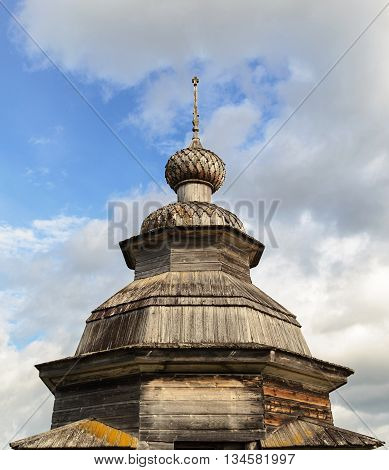 Cupola of old wooden orthodox chapel in the village Nermusha Arkhangelsk region Russia