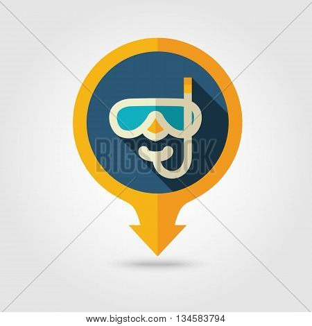 Diving Mask vector pin map flat icon with long shadow. Beach Map pointer. Summer Map markers. Holiday. Summertime. Vacation eps 10