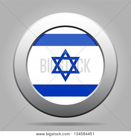 metal button with the national flag of Israel on a gray background