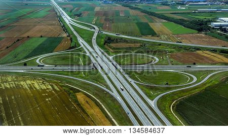 Aerial view of highway interchange near Belgrade city