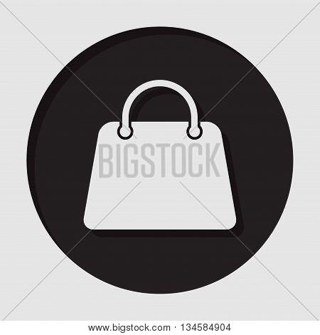 information icon - dark circle with white handbag and shadow