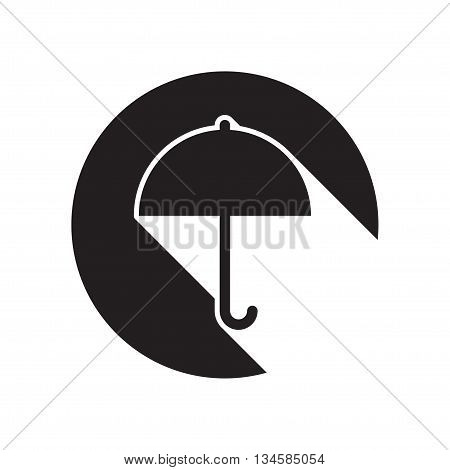 black icon with umbrella and white stylized shadow