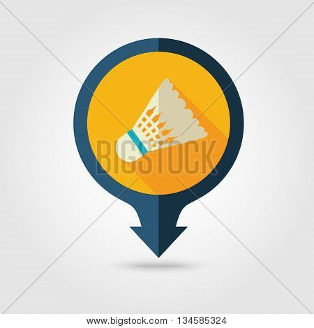 Shuttlecock for badminton sport vector pin map flat icon with long shadow. Beach Map pointer. Summer Map markers. Holiday. Summertime. Vacation eps 10