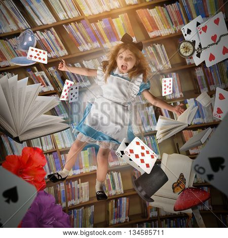 A little girl is falling down with game cards time clocks and story books with a library behind her for an creative imagination concept