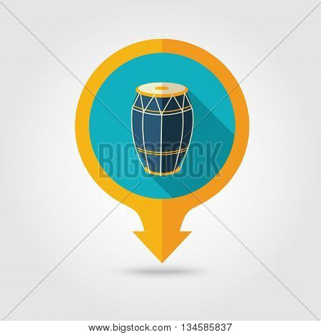 Drum vector pin map flat icon with long shadow. Beach Map pointer. Summer Map markers. Holiday. Summertime. Vacation eps 10