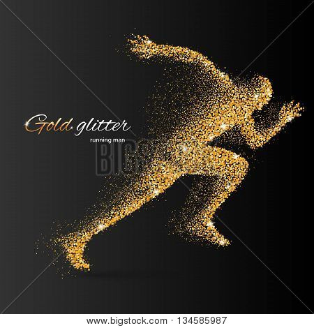 Running Man in the Form of Gold Particles on Black