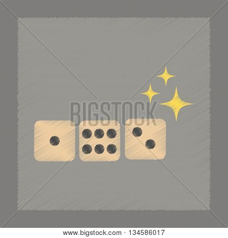 flat shading style icon poker dice lucky