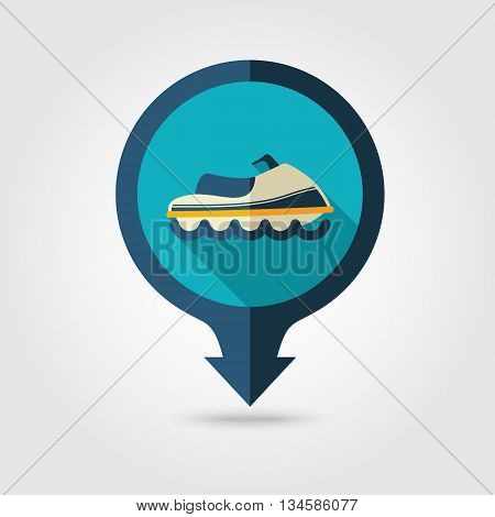 Watercraft vector pin map flat icon with long shadow. Beach Map pointer. Summer Map markers. Holiday. Summertime. Vacation eps 10