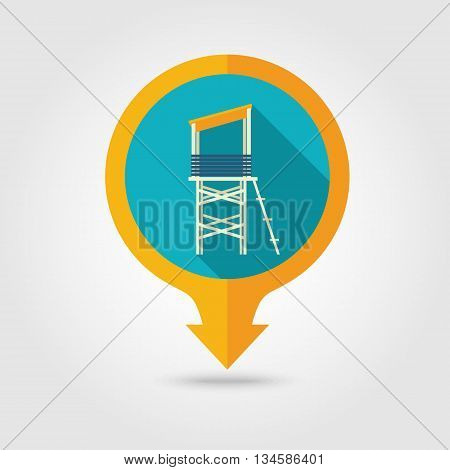 Lifeguard tower vector pin map flat icon with long shadow. Beach Map pointer. Summer Map markers. Holiday. Summertime. Vacation eps 10