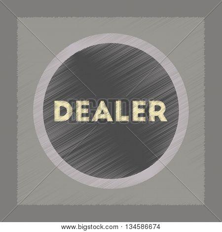 flat shading style icon poker chip dealer