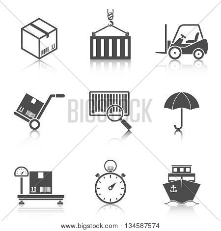 Logistic icons set reflection. Concepts of delivery, shipping process, ecommerce and logistics