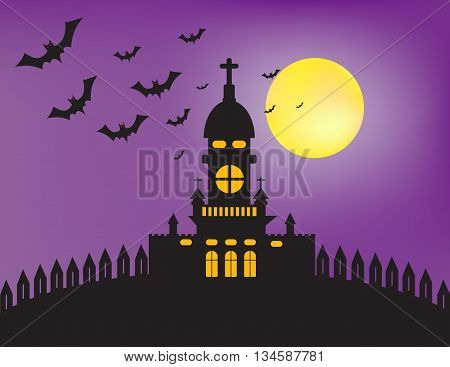 Castle bat and moon in the night of Halloween day.