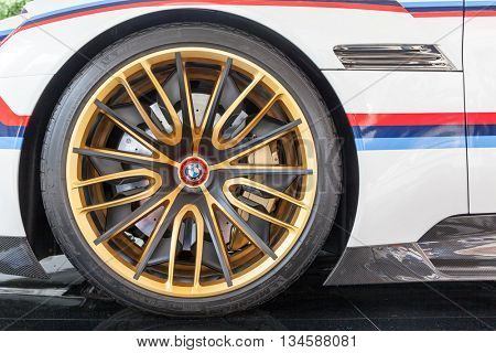 TURIN, ITALY - JUNE 12, 2016: the front wheel of a BMW 3.0 CSL Hommage R. Torino, Italy, Europe.