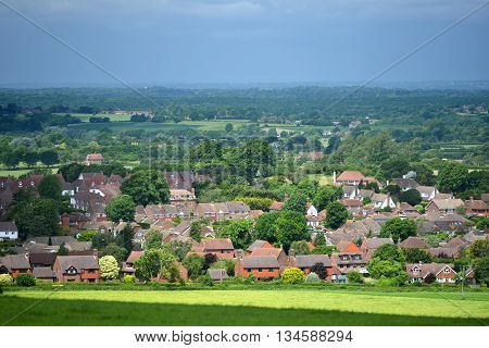 Scene of typical modern english country village