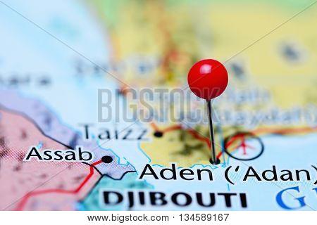 Aden pinned on a map of Yemen