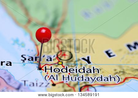 Hodeidah pinned on a map of Yemen