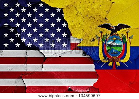 Flags Of Usa And Ecuador Painted On Brick Wall
