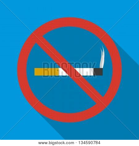 No smoking sign icon in flat style on a blue background