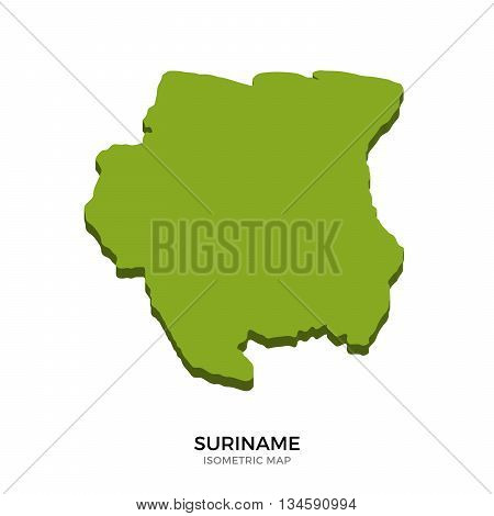 Isometric map of Suriname detailed vector illustration. Isolated 3D isometric country concept for infographic