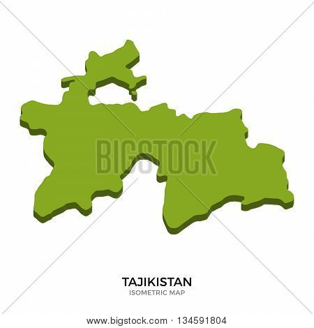 Isometric map of Tajikistan detailed vector illustration. Isolated 3D isometric country concept for infographic