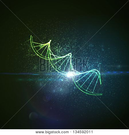 DNA shiny neon illustration. Vector medical illustration of DNA strand with light flare. Science genetic concept of DNA chain