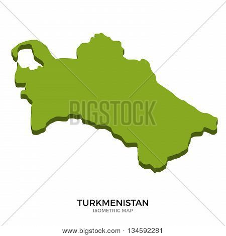 Isometric map of Turkmenistan detailed vector illustration. Isolated 3D isometric country concept for infographic