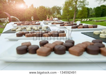 particular of mixed chocolates during a wedding party