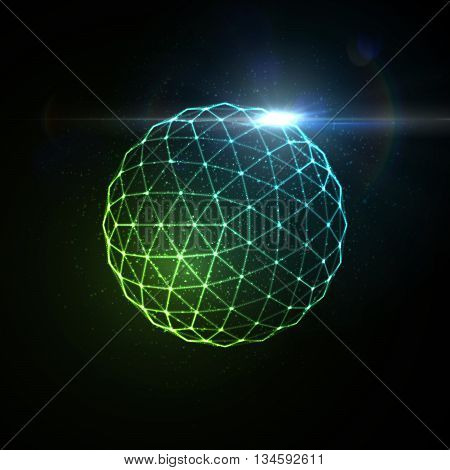 3D illuminated sphere of glowing particles, wireframe and flare lens light effect. Futuristic vector illustration. Science or microbiology virus concept