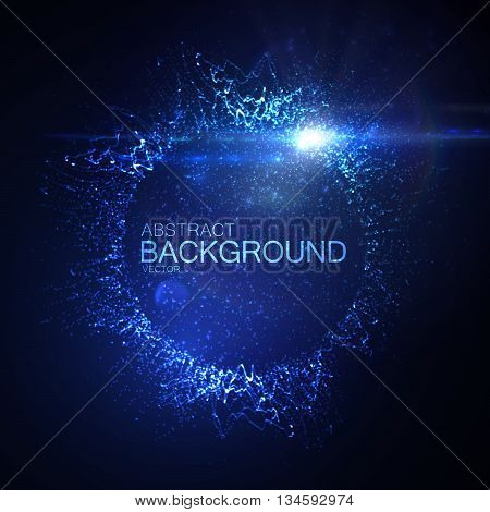 3D illuminated neon wreath or splash of glowing particles and lens flare light effect. Futuristic vector illustration. Technology concept. Digital explosion